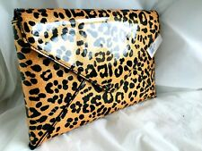 FAUX PATENT LEATHER ANIMAL LEOPARD PRINT EVENING DAY CLUTCH BAG TAN BLACK