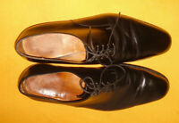 J.M.WESTON BLACK MADE IN FRANCE PLAIN TOE LEATHER SHOES SIZE 11E.