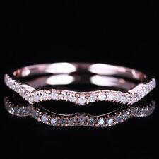 Half Eternity Band Engagement Wedding Natural Diamond Ring Solid 14K Rose Gold