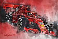 Ferrari F1 Car Art Kimi Raikkonen Art Print 8x10 Formula 1 GP Grand Prix