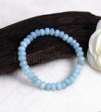 "5x8mm Blue Faceted Natural Aquamarine Gemstone Stretchy Bangle Bracelet 7.5"" AAA"