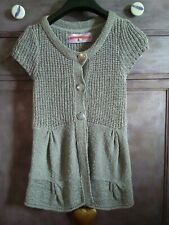 Ladies new long knitted cardigan top  River Island short sleeve size 14 grey
