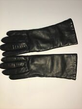 Saks Fifth Avenue Womens Black Leather Gloves Size 6 1/2