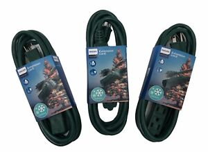 Philips 8 Ft. 3-Outlet Grounded Extension Cord Outdoor Green-Lot of 3