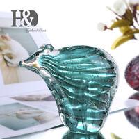 Handmade Glass Blown Polar Bear Ornament Art Sea Animal Figurine Home Decor Gift
