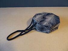 Original Vintage 50's Octagonal Hand Bag Box Case Black Feather Design Mirror