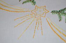 BETHLEHEM STARS & SPECTACULAR WREATH OF GREENERY! VINTAGE GERMAN TABLECLOTH