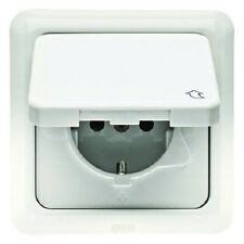 BERKER 471809 Schuko Outlet Hinged cover and frame uP IP44 polar white
