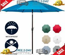 """9""""Sunbrella Umbrella Fabric Aluminum Patio Auto Tilt And Crank 8 Ribs light blue"""