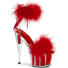 """Pleaser red marabou 7"""" ankle cuff sandals"""