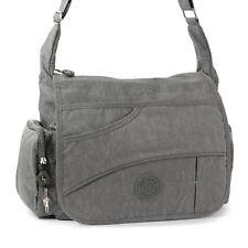 Umhängetasche Nylon grau Modische Damen Überschlagtasche Crossover OTJ214K