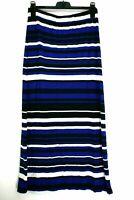 Banana Republic Women's Medium Black Blue White Stripe Slit Stretch Maxi Skirt