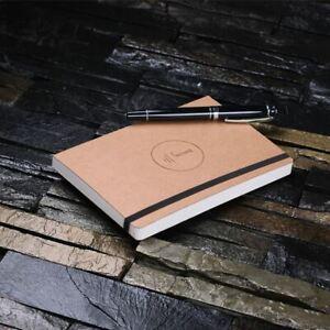 Personalised Journal Diary Notebook w/ Elastic Closure Monogram Stationery