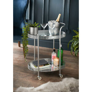 Deco Glamour Drinks Trolley Two Mirrored Shelves Eye Catching Design With Castor