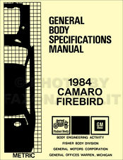 1984 Camaro Firebird Body Specifications Assembly Manual Trans Am Clearances