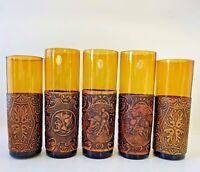 Vintage Amber Glasses Tumblers Leather Sleeve Embossed Hand Blown AE Spain -6