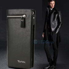 Leather ID Card Phone Holder Zip Purse Clutch Checkbook Billfold Wallets for Men