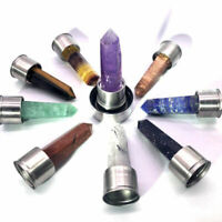 top! Natural Elixir Quartz Crystal obelisk Water Bottle Point Healing Wand rock