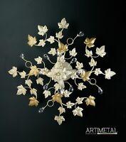 Plafoniera soffitto lampada classico ferro battuto cristalli foglie strass edera