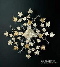 Ceiling Ceiling Lamp Classic Wrought Iron Crystals Leaves Rhinestone Ivy