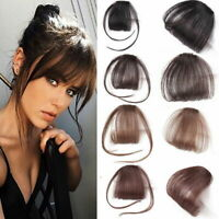 Thin Neat Air Bangs Remy Synthetic Extensions Clip in Front on Fringe Hairp Q1B4