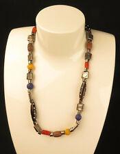 8942:ESPRIT Halskette, Modeschmuck, Metall, Holz und Tonperlen, tolles Design.