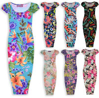 Girls Print Midi Dress Kids Floral Graffiti Bodycon Party Dresses New 7-14 Years
