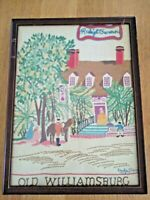 """large 11x18"""" VTG 1948 signed needlepoint embroidered Williamsburg Raleigh Tavern"""