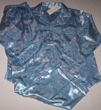 NWT Miss Elaine Blush Pink/Aqua Blue PAISLEY Brushed-Back SATIN Pajama Set S
