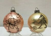 Vintage Glass Christmas Tree Ornament Bauble Ball Shiny Brite Mica Pink Black