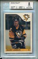 1985 OPC Hockey #9 Mario Lemieux Rookie Card Graded BGS NM MINT 8 O-Pee-Chee