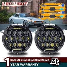 "1970-78 Datsun 240Z 260Z 280Z 280ZX Headlights 7"" Black LED Projector Headlamps"