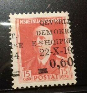 ALBANIA 1944 VERY UNUSUAL VARIETY ON OVERPRINT MNH