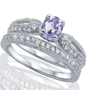Oval Lavender Light Alexandrite CZ Engagement Wedding Silver Ring Set