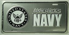US NAVY EMBLEM LICENSE PLATE Embossed Aluminum NEW America's Armed Forces Car