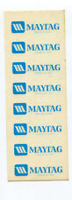 Maytag Logo Blue Lettering Sheet of Decals NOS