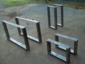 PAIR OF BESPOKE TABLE LEGS RETRO INDUSTRIAL STEEL METAL COFFEE BENCH DESK BAR