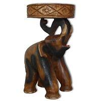 Elephant table, big model, wooden pedestal, Thailand import. decoration (10993)