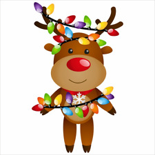 Christmas Reindeer with Lights Window Cling