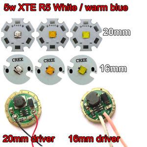 Cree XTE R5 5W Cool/Warm/Neutral White/Blue LED Bulb Chip Light+3v driver