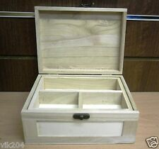 NEW PLAIN BLANK WOODEN JEWELLERY/ TRINKET DECOUPAGE BOX WITH TRAY ART CRAFT