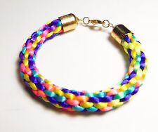 Bracelet, 7.25 Inches Rainbow Colored Kumihimo