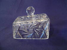 CUT POLISHED HEAVY CRYSTAL GLASS CHEESE WEDGE COVER DISH VINTAGE