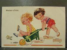 cpa illustrateur agnes richardson enfants brouette plaisir d'ete