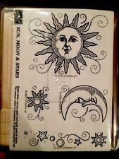 """""""SUN, MOON & STARS"""" Stampin'UP! NEW~WOOD~ unmounted-2000-set/4-Moon & Sun Face"""