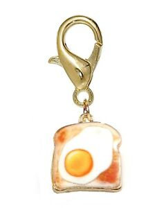 Fried Egg on Toast Breakfast Food Gold Lobster Claw Clip On Charm for Bracelets
