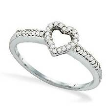 Diamond Heart Ring 10K White Gold White Diamond Heart Ring .15ct Open Cluster