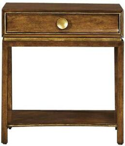 BEDSIDE TABLE PORT ELIOT MID CENTURY ITALIAN STYLE  FRENCH WALNUT  DRAWER