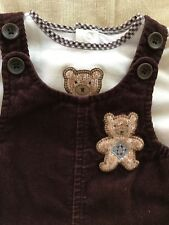 Janie and Jack 2-Piece Brown Corduroy Overall & Shirt - 3-6 Months
