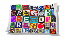 Personalized Pillowcase featuring GREGORY in photo of sign letters